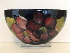 Vintage Moorcroft England Flat Oval Bowl or Vase - Clematis on Cobalt Background