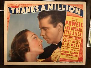 """Thanks A Million 1935 20th Century Fox 11x14"""" lobby card Dick Powell Ann Dvorak"""