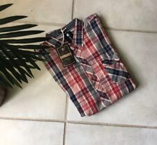 Billabong Red Plaid Short Sleeve Button Front Shirt Large NEW w Tags