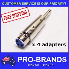 "4pcs Female XLR Plug to Mono 1/4"" Jack Audio Audio Adapter Lead Connector 6.35mm"