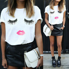 Womens Kiss Eyelash Print Loose Top Casual Blouse Tee T Shirt Lady Top Pus Szie