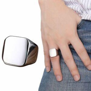 Men Rings Square Big Width Signet Rings Jewelry Stainless Steel Biker Ring US