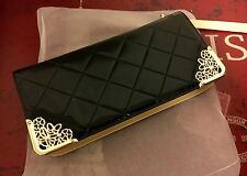 $385 Dolce Sinfonia Wallet Black Lacquer PU Leather and Iron Beverly Hills