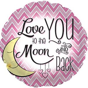 LOVE YOU TO THE MOON AND BACK balloon pink helium foil balloon