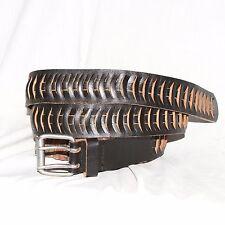 """Vintage black laced Leather Belt size 40 & 1½"""" Wide silver roller buckle"""