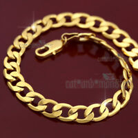 24K YELLOW GOLD GF FLAT CURB RING CHAIN SOLID MENS LADY LARGE SIZE BRACELET 25CM