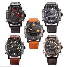 NAVIFORCE Genuine Men's Black Luminous Leather Strap Watch Fashion Wrist Watch