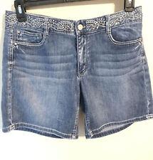 White House Black Market Embellished Jewel Beaded  Blue Jean Denim Shorts 12