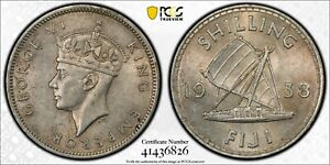 1938 Fiji One (1) Shilling PCGS AU 58 Witter Coin