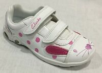 BNIB Clarks Girls Mitzy Jive White/Pink Leather Lights Trainers E/F/G/H Fitting