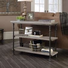 Canal Heights Black Steel & Northern Oak Finish Vintage Style Console Table