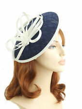 Navy Blue and Cream Woven Circular Saucer Shaped Hair Fascinator - Slim Headband