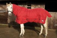 Rhinegold Dakota 300G Horse Stable Rug Combo Full Neck in Red Check