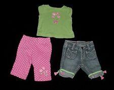 EUC Gymboree Girls BRIGHT TULIPS 3pc Set Green Flower Top, Pants & Jeans 3-6 M
