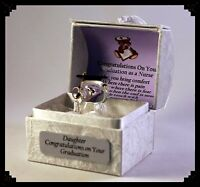 Daughter Nurse Graduation Gift Personalised crystal Owl gilded in 22KT gold  #8