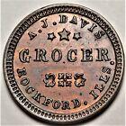 Rockford Illinois A J Davis Civil War Store Card Token IL 755A-1a