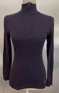 Smartwool Sz S Purple Merino Wool 1/4 Zip Active Outerwear Base Layer Shirt Top