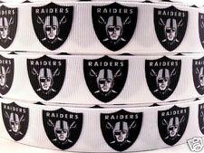 "Grosgrain Ribbon 1"" RAIDERS Sports Team Printed SPORTS FOOTBALL USA Seller"