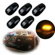 5pcs Smoked Cab Roof Marker Amber LED Lights Assembly For GMC Chevy Ford Trucks