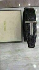 NEW TOM FORD  BLACK LEATHER REVERSIBLE T-BUCKLE LOGO BELT 95/38