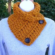 NECK WARMER SCARF Dark Yellow Orange Gold Crochet Knit Wool Blend Thick Cowl