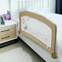 Swing Down Baby Bed Rail Safety Crib Rail For Toddler Kids Baby 60x20 Inch Beige