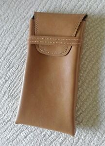 Eyeglass Case Pouch LT BROWN Soft Synthetic Leather with closure