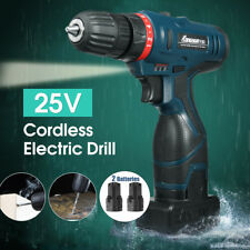 25V Electric Cordless Drill Driver Li-Ion 2 Speed Power+2*Battery+Charger