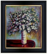 Framed Claude Monet Asters Repro, Hand Painted Oil Painting 20x24in
