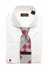 Dress Shirt by Steven Land Classic Fit Rounded French Cuff-White-DW1636-WH