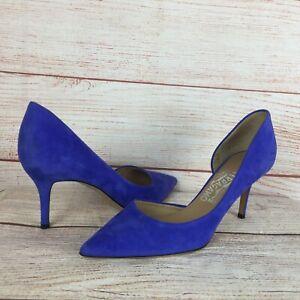 Salvatore Ferragamo Pam Glass Blue Suede Heels Pumps Sz 8 B ZX05763 70MM
