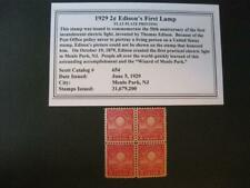 US Sc# 654  2¢ Edison Choice Block 4  MNH - Exceptional