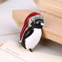 Adorable Penguin Crystal Brooch Merry Christmas Party Gift Women's Brooch Pin