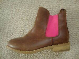 Joules girl's tan chelsea boots size 1 - leather