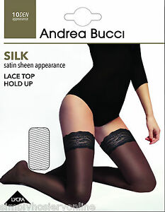 Andrea Bucci Silk Satin Sheen Lace Top Hold Ups 10 Denier 1 Pair Stay ups