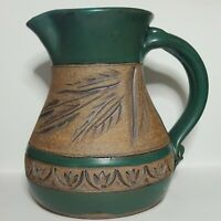 Modern Signed Art Pottery Pitcher Green Glaze Embossed Wheat or Bamboo Leaves 8""