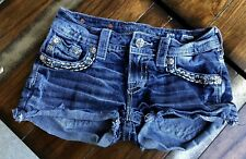 MISS ME SIGNATURE SHORT BUCKLE 26 W13/L3/R7 DARK WASH STRETCH SUPER CUTE WOMEN'S