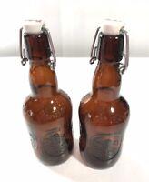 VTG Grolsch 2pc Brown Glass Beer Bottle w/Porcelain Swing Top Stopper Metal Bail