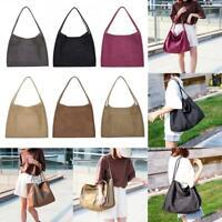 Girls Solid Color Shoulder Handbags Women Large Top-handle Bags Canvas Totes