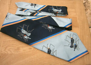 Original Vintage 1970s 70s Charles of London Mens Oversize Kipper Tie Birds