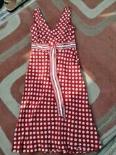 UK SIZE 10 COAST RED POLKA DOT SILK FLIPPY DRESS -  wedding smart work summer