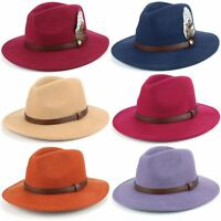 Fedora Hat Wool Felt Hawkins Feather Band Trilby Ladies Men Travel Brim Travel