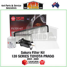 SAKURA FILTER KIT OIL AIR FUEL CABIN suits 120 SERIES TOYOTA PRADO 2003 - 2009