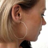 Estate $5000 Geometric Large Modern Octagon Hoop Earrings in 18k White Gold Over