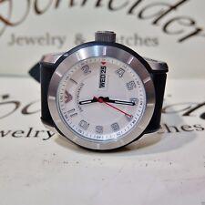 Emporio Armani white dial 43mm  rubber strap day date quartz AR5870 Nos watch