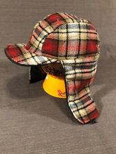 WOOLRICH Reversible Red Black Tan Plaid Check Wool Blend Hunting Hat 57cm Small