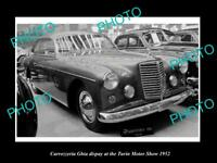 OLD LARGE HISTORIC PHOTO OF 1952 CARROZZERIA GHIA TURIN MOTOR SHOW DISPLAY 1