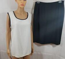 Drapers Damons Womens Skirt Set Size 14 Black White Shell Sleeveless 2-Piece