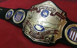 NWA UNITED STATES CHAMPIONSHIP BELT IN 4MM ZINC DEEP ETCHING 24KT GOLD PLATED!