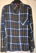 Cool Quiksilver Medium Blue & Yellow Plaid Shirt Cotton Slim Fit